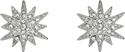 Rhodium and Rhinestone Starburst Clip Earrings