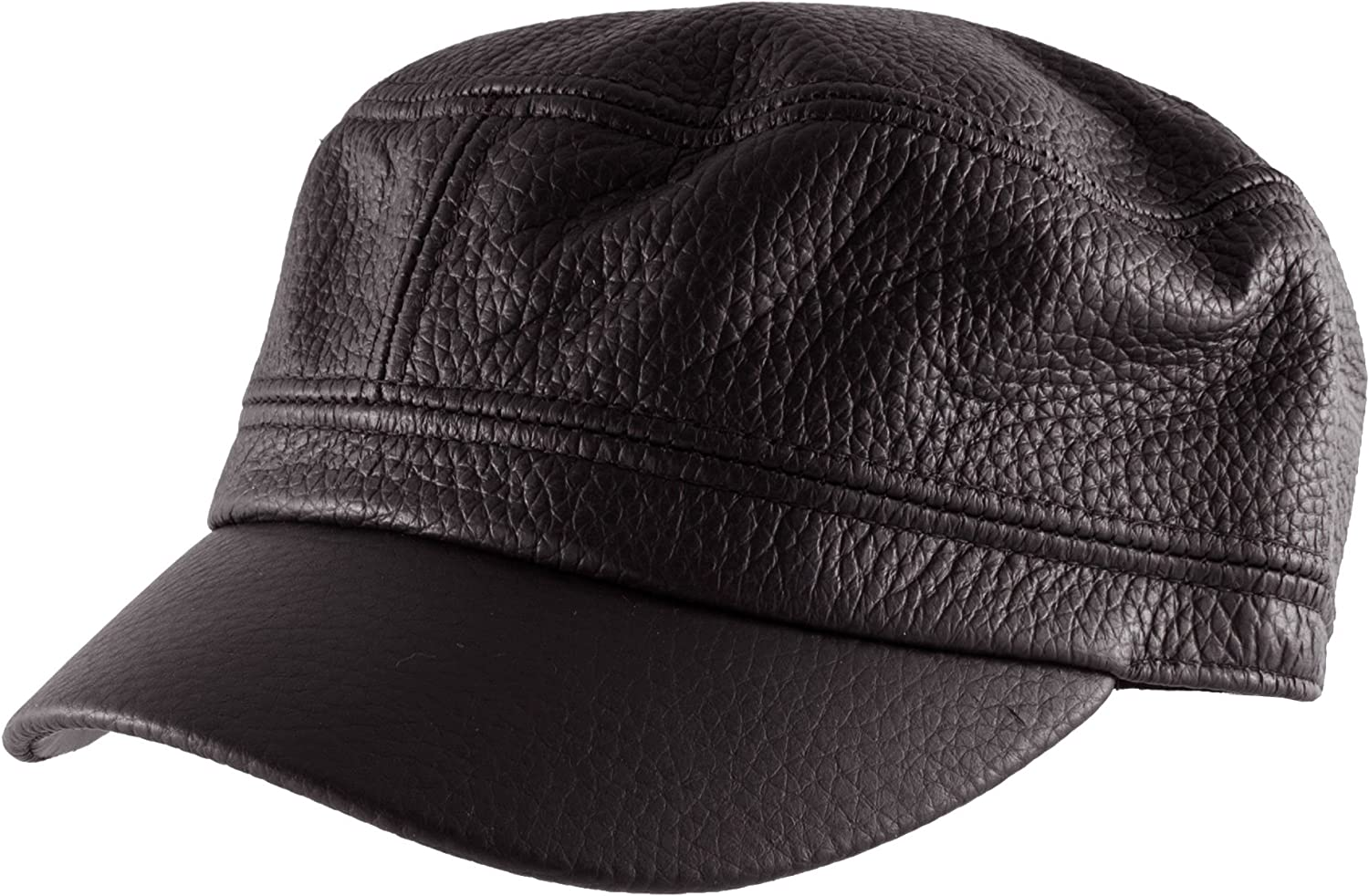 e59a17ddb0858c Morehats Genuine Leather Military Cadet Cap Army Camo Adjustable Hat Hat Hat  (Small Brown) 5752db