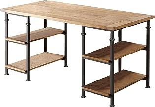 Homelegance Factory Metal Frame Writing Desk, Rustic Brown