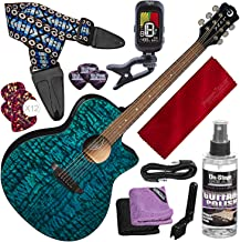 Luna Gypsy Quilt Top Acoustic/Electric Guitar, Trans Teal with Guitar Strap and Deluxe Bundle