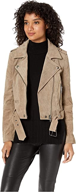 Real Suede Moto Jacket in French Taupe