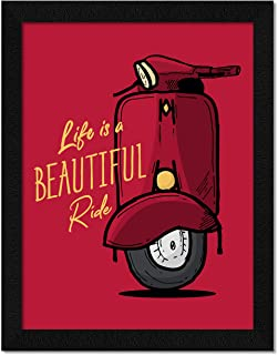 ArtX Paper Inspirational Quote Life is a Beautiful Ride Wall Art Frame, Multicolor, Motivational, 10.5X13.5 in, Set of 1