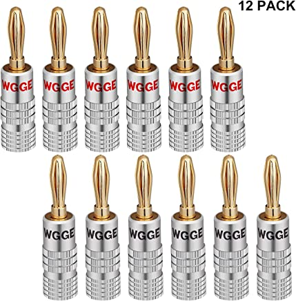 WGGE WG-009 香蕉插头音频插孔连接器,24k 金双螺丝锁定扬声器连接器WG-009 6 Pairs (12 plugs)