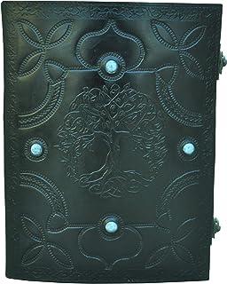 $59 » Sponsored Ad - Fresh New Leather Diary Embossed Black Pentagram Tree with Royal Blue Lapis Lazuli Gemstone Stone Handmade ...