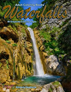 Adult Coloring Books Waterfalls 48 Grayscale Coloring Pages: Beautiful grayscale images of waterfall landscapes
