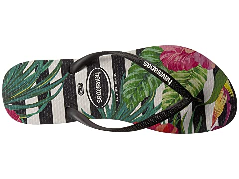 Negro Pinkblack Blanco De Sandalia Tropicales Havaianas Flores Slim wxB4zwv1