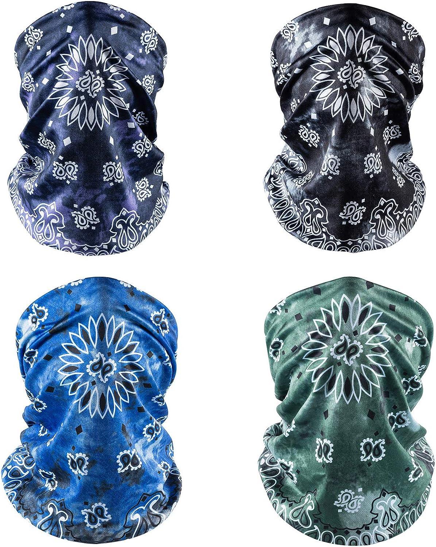 4 Pack Unisex Neck Gaiter Bandana Face Mask UV Protection Cooling Paisley Balaclava Headwear for Men Women