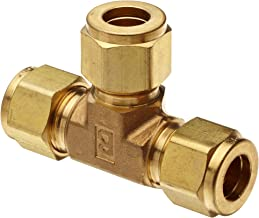 Parker A-Lok 4ET4-B Brass Compression Tube Fitting, Tee, 1/4