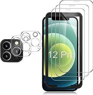 GESMA Schutzfolie Kompatibel mit iphone 12 pro, 3 Stück Schutzfolie und Kamera Schutzfolie 2 Stück, Mit Positionierhilfe, 9H Härte, HD Klar Glas Displayschutzfolie, Einfacher Montage, Blasenfrei.