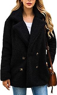 ECOWISH Women's Coat Casual Lapel Fleece Fuzzy Faux Shearling Zipper Warm Winter Oversized Outwear Jackets