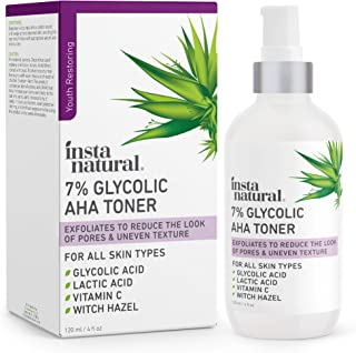 Glycolic Acid Toner 7% with Vitamin C - Pore Minimizer, Blackhead & Brightening Treatment - AHA Exfoliating Astringent - S...