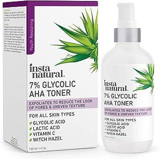 Glycolic Acid Toner 7% with Vitamin C - Pore Minimizer, Blackhead & Brightening Treatment - AHA Exfoliating Astringent - S...