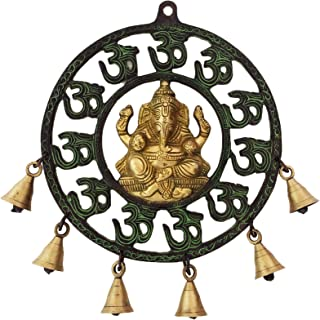Aakrati Wall Hanging Double Finish Om Ganesh with Bells - Religious Hindu Lord Metal Brass Wind Chimes