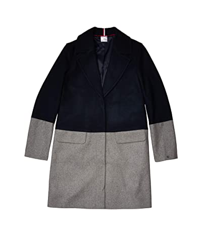 Tommy Hilfiger Adaptive Color Block Wool Coat (Masters Navy/Heather Grey As Swatch) Women
