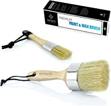 Super Coverage !!!! Professional Chalk and Wax Paint Brush !!! DIY Painting and Waxing Tool   Natural Bristles   Home Décor, Wood Projects, Furniture, Stencils   Reusable (2 pc Set)