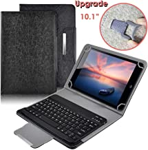Universal 10 inch Tablet Keyboard Case, 【DETUOSI】 Wireless Bluetooth Removable Keyboard+ Folio PU Leather Cover + Stand, Travel Portable PU Sleeve for iOS/Android/Windows 9.6-10.5 inch Tablet,(Black)