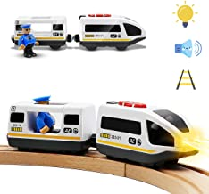 Battery Operated Action Locomotive Train (Magnetic Connection)- Powerful Engine Bullet Train Set Fits Chuggington Wooden T...