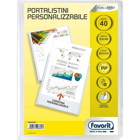 Favorit 100460327 - Portalistino Personalizzabile 40 Buste, 22 x 30 cm, Trasparente
