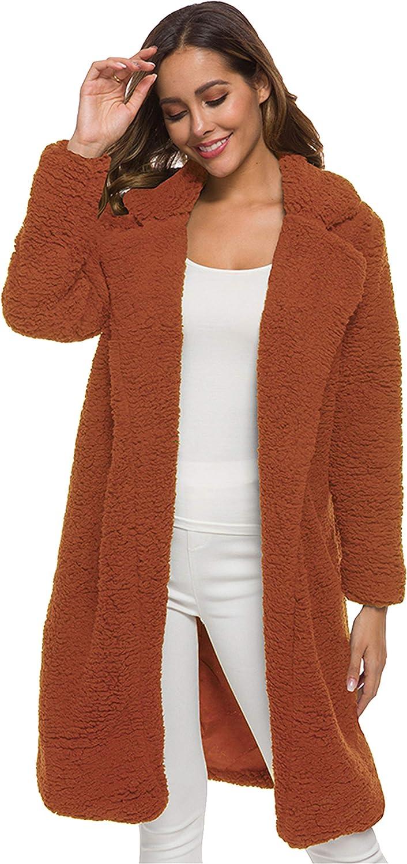 DIACACY Women's Winter Warm Casual Coat Furry Faux Fur Teddy Long Cardigan Coat