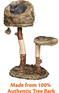 Pet Control HQ Cat Tree Condo 39 Inch Tall Scratcher Post Pet Bed Furniture, Authentic Pear Tree Bark Post with Activity House w/Scratching Sisal, Spacious Perch and Interactive Toy, Brown