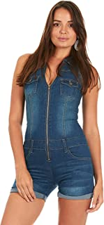 fba81f70240c Cover Girl Denim Romper Jeans Shorts Zip Up Sleeveless Cute and Sexy 3  Colors Juniors and