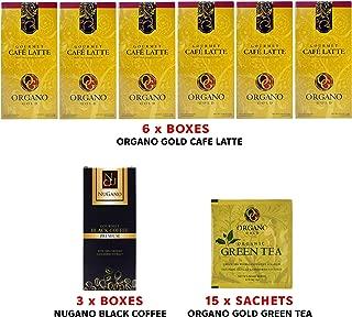 (6) Organo Gold Cafe Latte + (3) Nugano Coffee with Deeper in Aroma, Richer in Taste + (15) Organo Gold Green Tea Sample Sachet