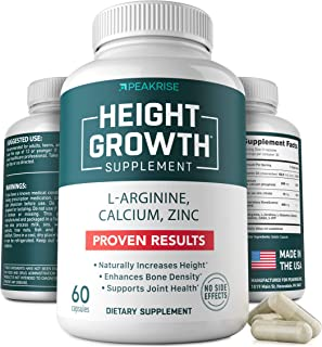 Height Growth Vitamin Pills - L-Arginine Calcium Zinc Supplement - Height Increase Vitamin Pills for Everybody - Without G...