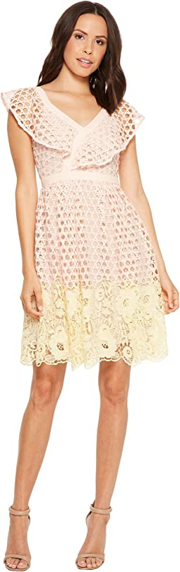 Donna Morgan Ruffle V-Neck Lace Dress