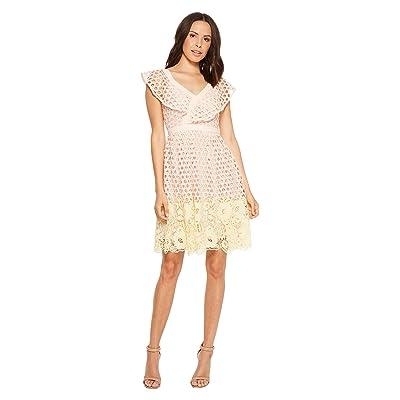 Donna Morgan Ruffle V-Neck Lace Dress (Pink/Yellow Multi) Women