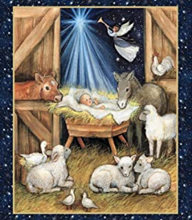 Nativity Barn Christmas Star Angel Lambs 36 x 44 inches Panel by Susan Winget for Springs Creative 100% Cotton