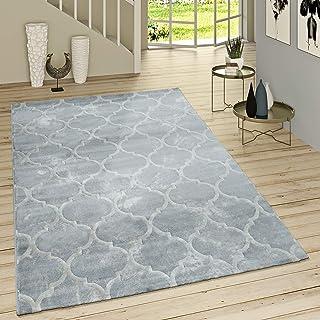 Paco Home Kurzflor Teppich Modern Marokkanisches Muster Vintage Style Ombre Look Grau Weiß, Grösse:155x230 cm