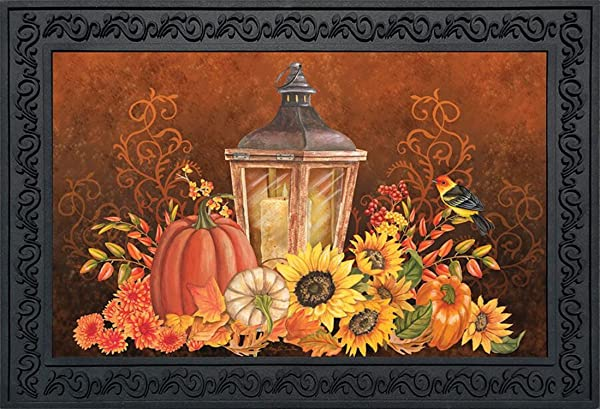 Briarwood Lane Fall Lantern Primitive Doormat Pumpkins Sunflowers Indoor Outdoor 18 X 30