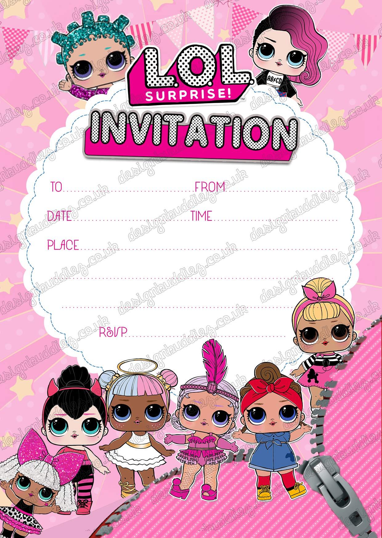 Design Buddies LOL Surprise! - Paquete de 20 invitaciones para fiestas de niños con un diseño de muñecas, de 250 g/m², sin sobres: Amazon.es: Hogar