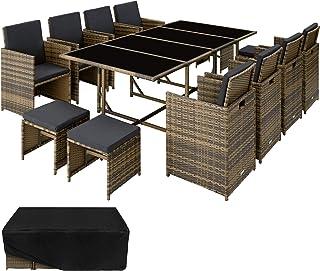 TecTake 800823 Salon de Jardin en Résine Tressée 12 Places Housse de Protection 8 Fauteuils 4 Tabourets 1 Table – Diverses...