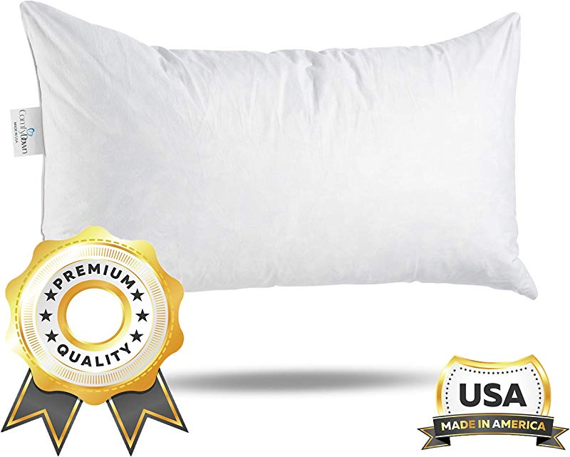ComfyDown 95 Feather 5 Down 14 X 26 Rectangle Decorative Pillow Insert Sham Stuffer Made In USA