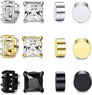 6 Pairs Magnetic Stud Earring for Men Women Round Square CZ Magnet Non Pierced Clip On Earrings Set