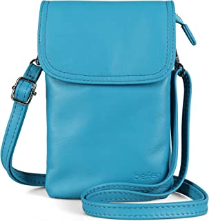 befen Geldbörse für Damen, echtes Vollnarbenleder, klein, mit Schlüsselring, (himmelblau - deep sky blue), Small