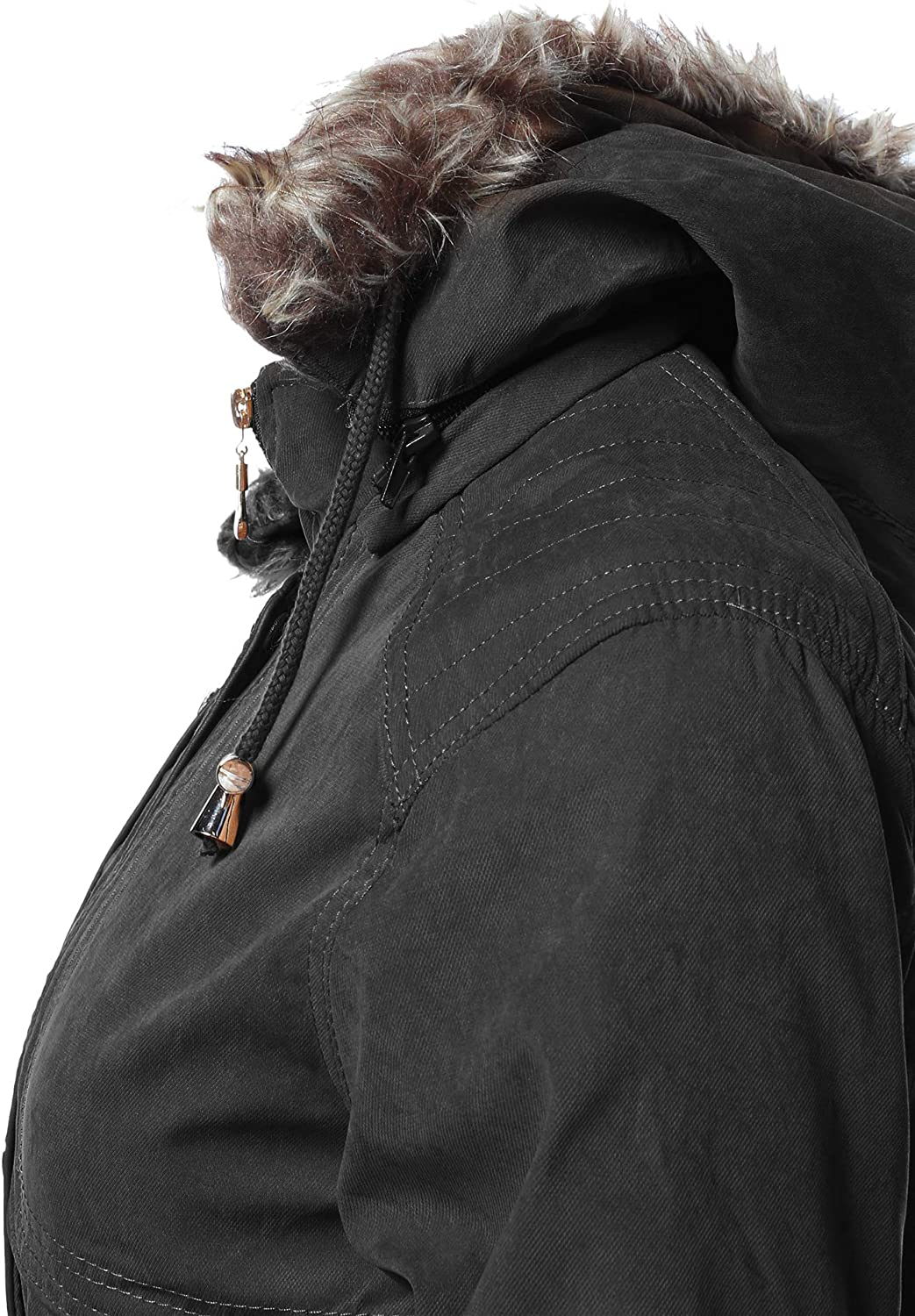 Awesome21 Women's Solid Hooded Warm Winter Thicken Fleece Lined Parkas Long Jacket