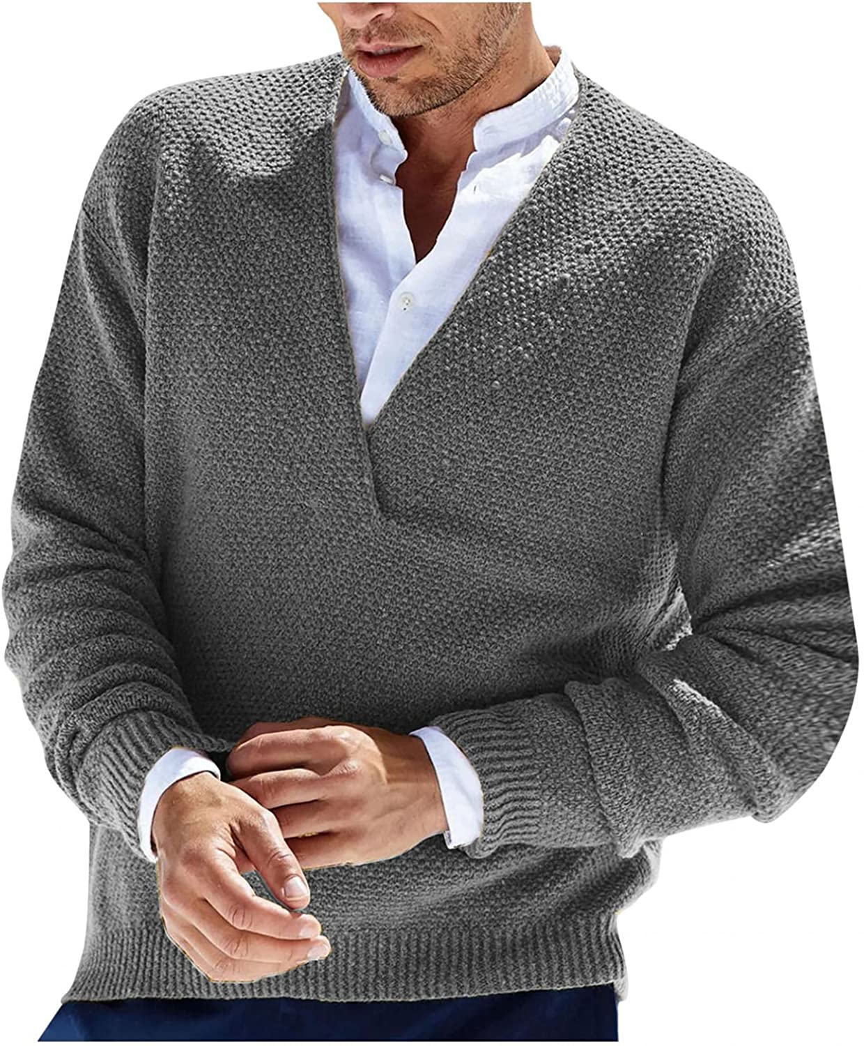 Mens Knitted Cardigan Sweaters Casual Slim Fit V Neck Pullover Sweatershirts Classic Long Sleeve Knitting Blouse