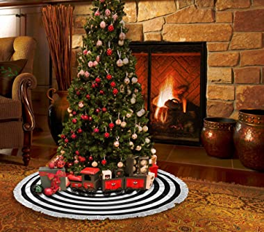 AHOOCUSTOM Black and White 30 in Christmas Tassel Tree Skirt, Versatile Occasion Easy to Change, Funny Halloween Holiday Part