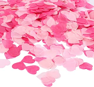 Whaline 1 Inch Heart Paper Confetti Tissue Confetti 6000 Pieces Party Table Decorations for Balloon, Wedding, Valentine's Day, Holiday, Birthday