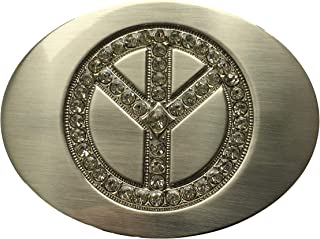 Belt Buckle Peace Symbol Silver with Diamante Inlay Fits 40mm / 1.57 inch Belts Biker Cowboy Western