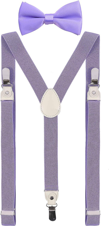 DEOBOX Men's Suspenders and Bow Tie Set for Wedding Clips 47