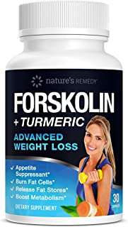 Nature's Remedy 100% Pure Forskolin + Turmeric Extract for Weight Loss | Extra Strength Appetite Suppressant, Carb Blocker and Weight Loss Pills for Women and Men | 30 Capsules