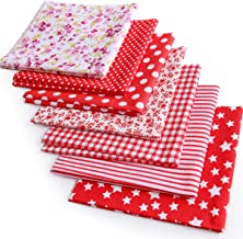 YOLUFER DIY Cotton Fabric Bundle 19.7 x 19.7 Inches, 7PCS Different Pattern, Squares Patchwork Material for Sewing Quiltin...