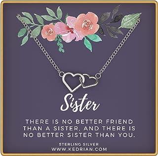 KEDRIAN Sister Necklace, 925 Sterling Silver, Big Sister Gifts, Sister Gifts for Sister, Sister Necklace, Sister Birthday Gifts, Sisters Gifts, Gift for Sister