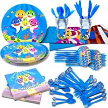 Cute Shark Party Supplies,182 Pieces Little Shark Party Decoration,Includes Table Cloth 7