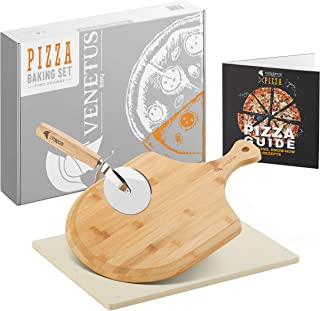 VENETUS-BBQ Pizzastein für Backofen und Gasgrill - inkl. Zubehör 4er Set