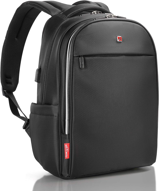 Laptop Backpack Black RFID Blocking - Travel Backpack USB Quick Charge - Swiss Design 17