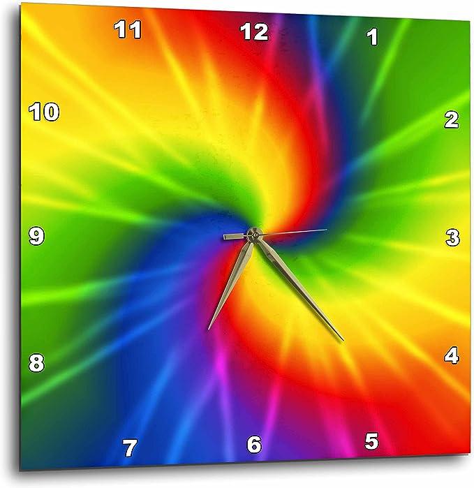 Rainbow Tie Dye Colorful Art - Wall Clock - Bright Tie-Dye Wall Decorations